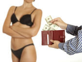 Man is paying for sex (Dollar banknotes) — Stock Photo