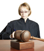 Gavel & female judge — Stock Photo