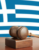 Gavel and Flag of Greece — Stock Photo
