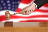 Gavel and USA flag — Stock Photo