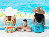 Man and two women — Stock Photo