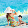 Couple in pool — Stock Photo