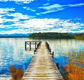 озеро mahinapua — Стоковое фото