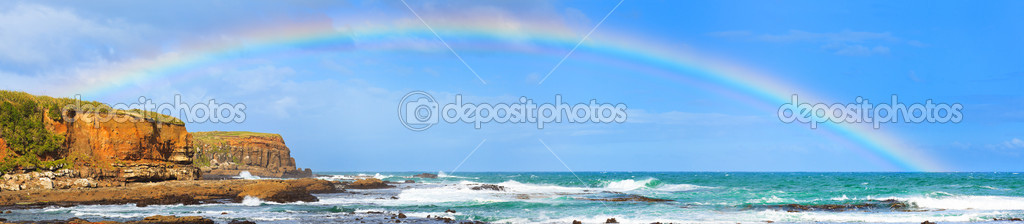 Rainbow over the sea. Panorama — Stock Photo #9708436