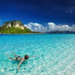 Tropical beach, snorkeling - Stock Photo