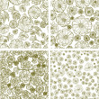 Vector set of seamless floral patterns — Stock Vector