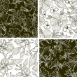 Vector set of four seamless floral patterns — Imagens vectoriais em stock