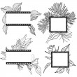 Vector set of vintage frames with flowers — Vektorgrafik