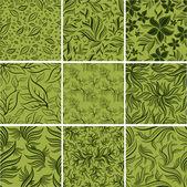 Stor uppsättning seamless mönster med blad — Stockvektor
