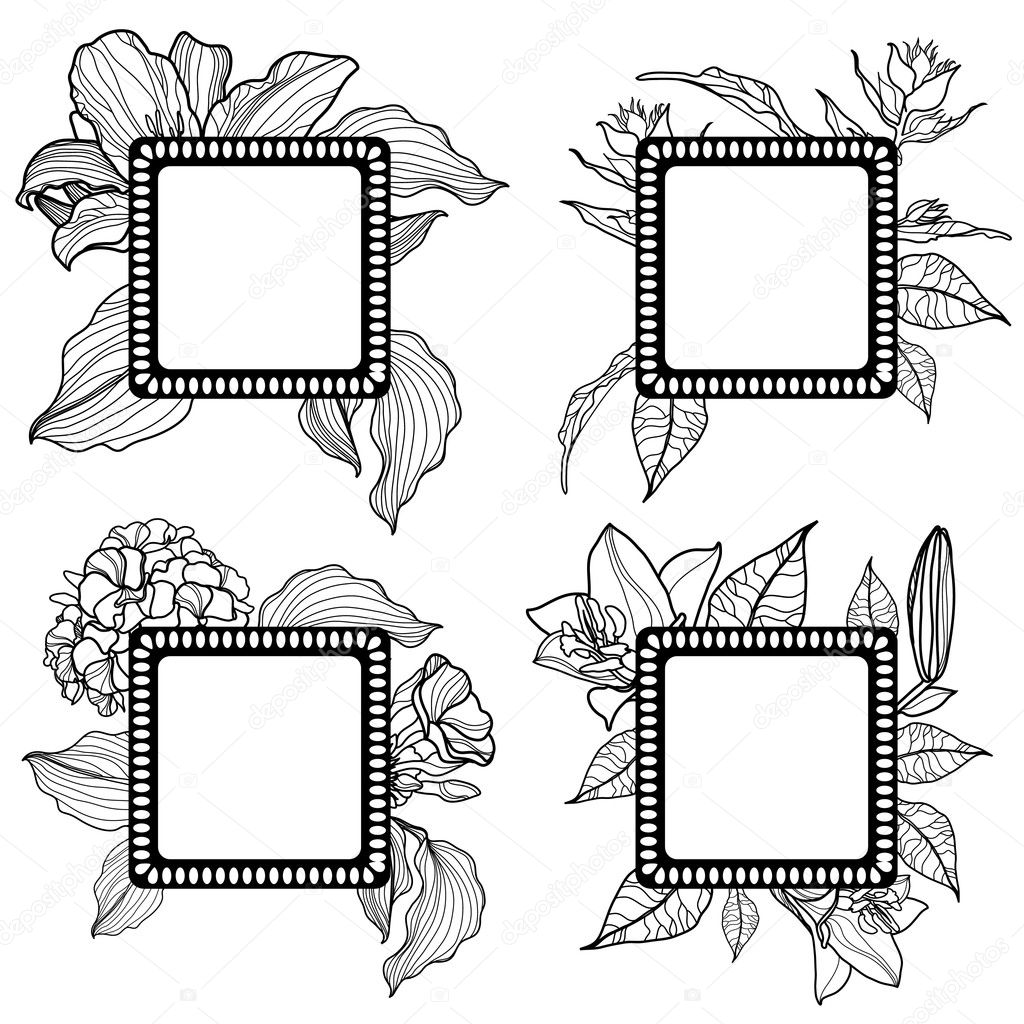Vector set of vintage frames with flowers (from Floral collection) — Stock Vector #8668906
