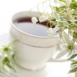 Tea in a cup and lilies of the valley — Stock Photo #8644419