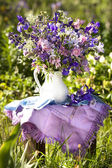 Bouquet of irises and meadow — Stock Photo