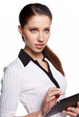 Beautiful modern woman using digital tablet — Stock Photo