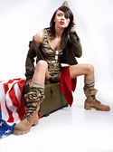 Beautiful girl in military clothes. studio shot — Foto Stock
