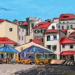 Croatia town street - illustration — Stockfoto