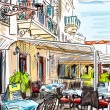 Croatia town street - illustration - Stock Photo