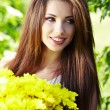 Stock Photo: Beautiful spring woman with flowers