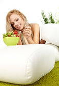 Healthy lifestyle - smiling woman with vegetable salad on white — Stock Photo