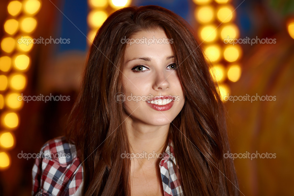 portrait of beautiful petite woman in night city shallow dof stock photo zoomteam 10708178. Black Bedroom Furniture Sets. Home Design Ideas