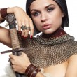 Portrait of a medieval female knight in armour — Stock Photo