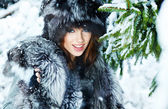 Beauty woman in the winter scenery — Stock Photo