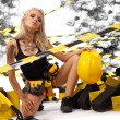 Stock Photo: Sexy blonde female construction worker