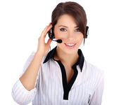 Beautiful Customer Representative with headset smiling during a — Stock Photo