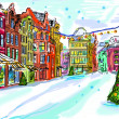 Christmas vintage card with the urban landscape and snowfall — Stock Photo