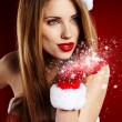 Portrait of beautiful sexy girl wearing santclaus clothes — Stock Photo #8054875