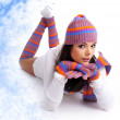 Winter fashion girl over abstract round modern design background — Stock Photo #8089519