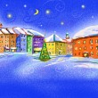 Winter scenery with illustrated city in the night — Stock Photo #8134647