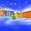 Stock Photo: Winter scenery with illustrated city in the night