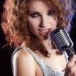 Portrait of singing woman — Stock Photo