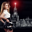 Russian woman after party holding shoes . Girl and shoe — Stock Photo #8459413