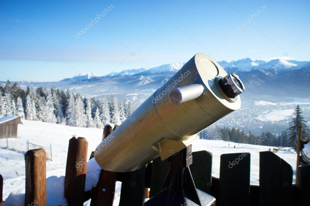 A telescope for observation of Zakopane — Stock Photo #8460264