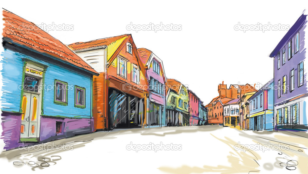 Drawn to the old town — Stock Photo #8526096