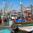 Fishing blue boats in Marocco.Beauty view - Stock Photo