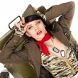 pin-up imago van sexy mooie brunet in militaire vorm — Stockfoto