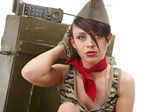 Beautiful young army pin up model — Stock Photo