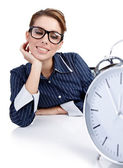 Portrait of responsible woman with watch in the office — Stock Photo