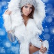 Playful Winter Woman - Stockfoto