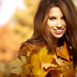 Young woman in autumn orange leaves. Outdoor. - Stockfoto