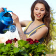 Stock Photo: Cheerful girl watering flowers
