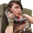 Beautiful girl in military clothes. studio shot — Stock Photo #8754073