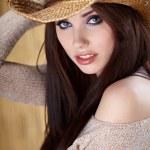 mulher sexy com chapéu de cowboy — Foto Stock