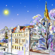 Drawn to the winter old town — Stock Photo