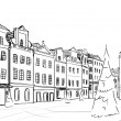 Royalty-Free Stock Photo: Old town - illustration sketch