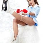 mujer sexy patinaje pin-up — Foto de Stock