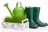 Attrezzi da giardino e annaffiatoio con erba su bianco — Foto Stock