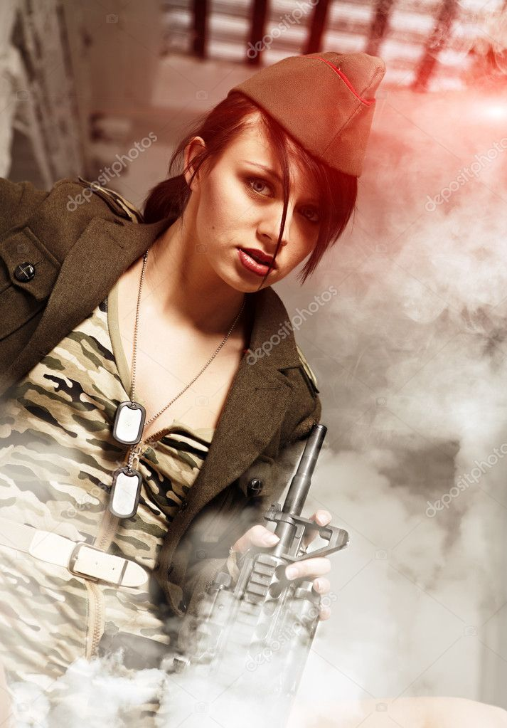 Attractive and sexy army girl  Stock Photo #9139885